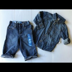 Old Navy Boys SZ 12-18 MTH NWT Denim Shirt & Jeans